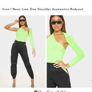 Neon Lime One Shoulder Asymmetric Bodysuit